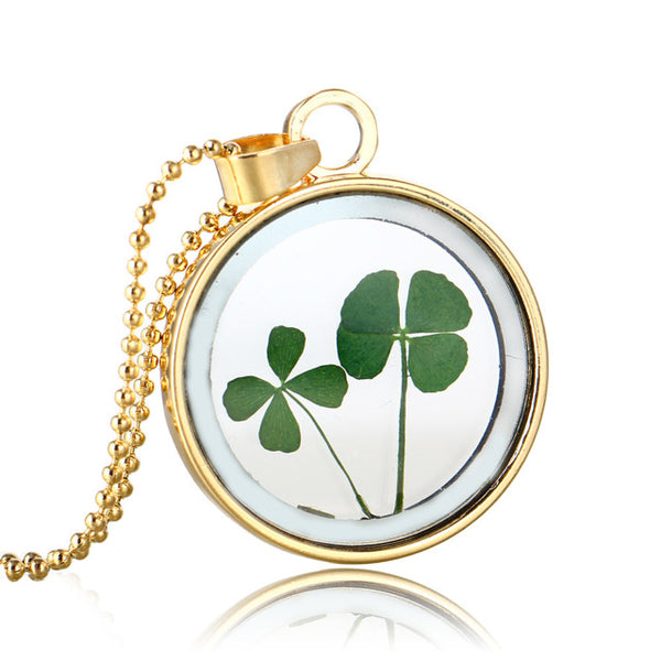 Glass Dried Four Leaf Clover  Necklace