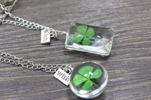 Lucky Clover Glass Wish Necklace