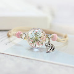Fresh Flower Ball Metal Weave Bracelet