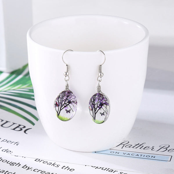 Butterfly Wishing Tree Glass  Dried Flower Long Drop Earrings