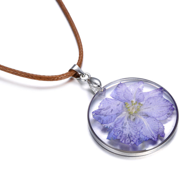 Newest Glass Purple Dried Dry Flower Necklaces