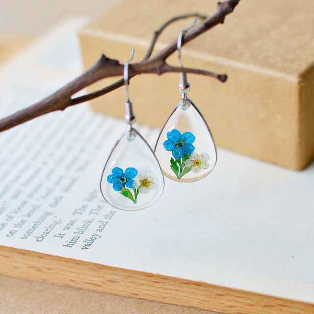 2018 Colorful Moon Dried Flower Earrings