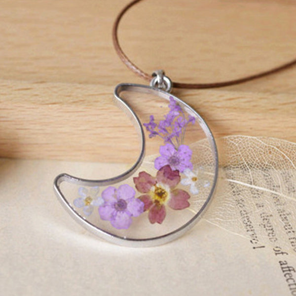 Unique Natural Dried Purple Lavender Flower Necklace