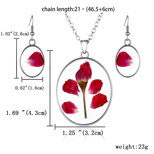 Real Dried Rose Necklaces Pendant Earrings Jewelry Set