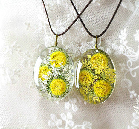 Handmade Natural Sunflowers Long Necklaces