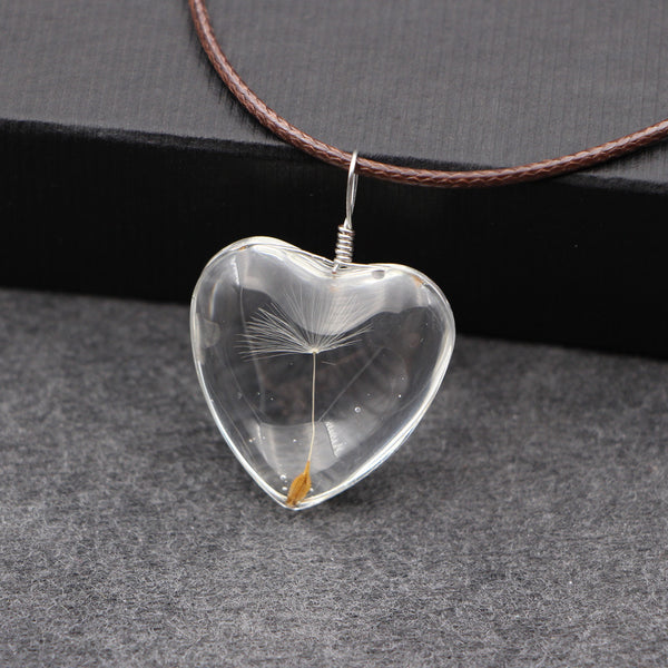 Dandelion Oval heart Necklace