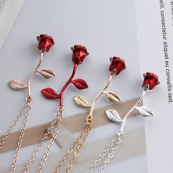 Red Rose Flower Statement Necklace Women Choker Rose Gold Color Flower Pendant