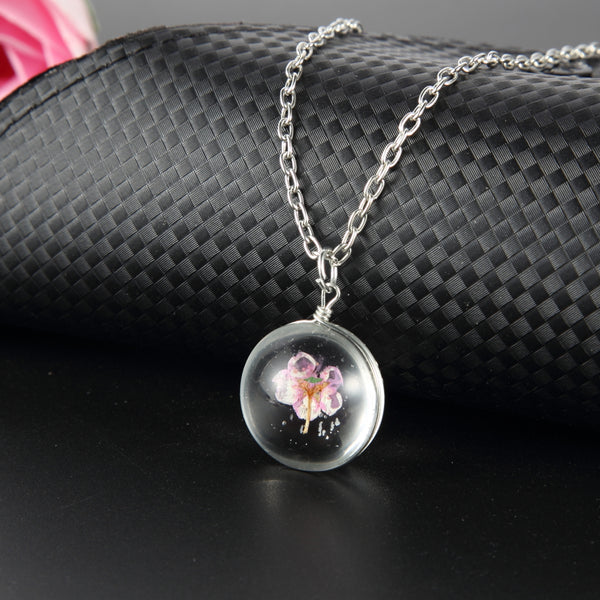 Glass Ball Pink Cherry Blossom Necklace