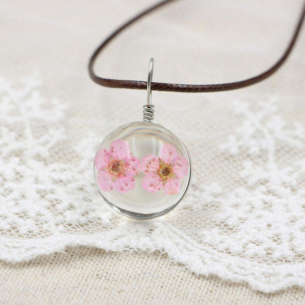Natural Dried Cherry blossoms Necklace
