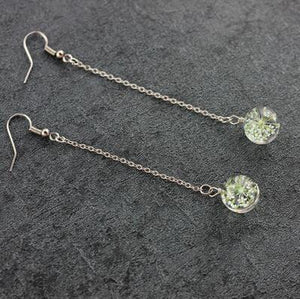 Long crystal glass dried flowers earrings