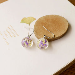 Vintage Dried Flower Drop Earrings