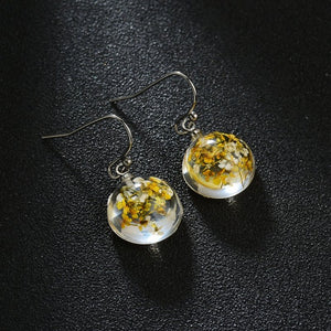 Retro Natural Dried Flower Earrings