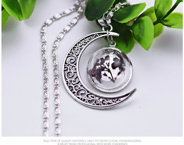 Moon Real Dried Flowers Glass Ball Necklace