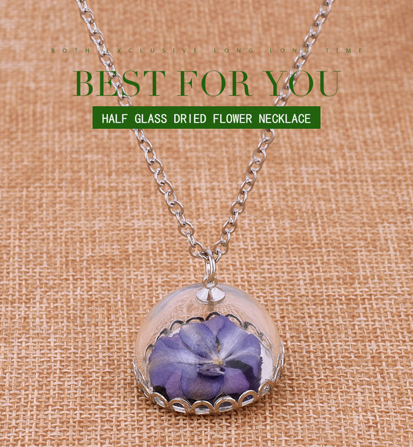 Purple Dried Flowers Plant Specimen Bottle Glass Necklace
