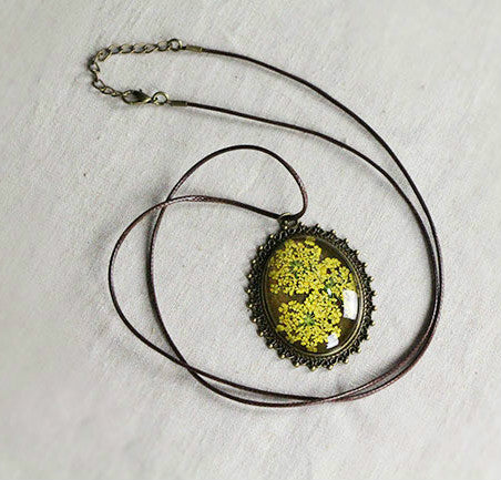 Retro Jewelry Real Dried Flower Necklace