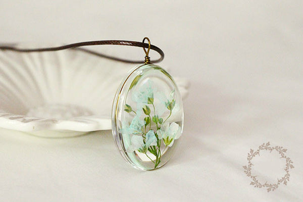 Real Natural Dried Flower Pendant Necklace