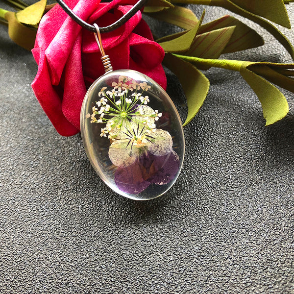 Handmade Pansy Flowers Glass Necklaces
