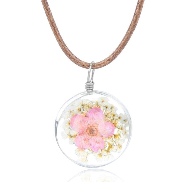 Natural Dried Flower Pendant Chokers Necklace
