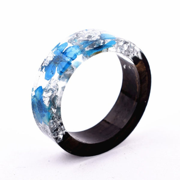Handmade Secret  Wood Flowers Resin Ring