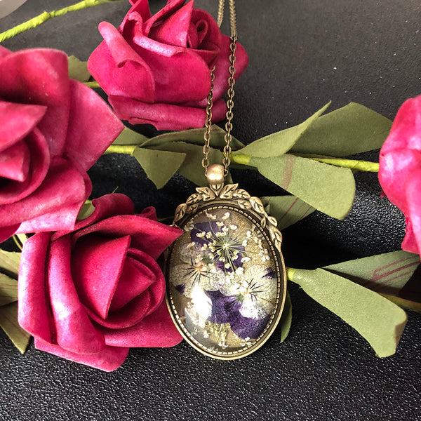 Handmade Bronze Glass Pansy Flower Necklace