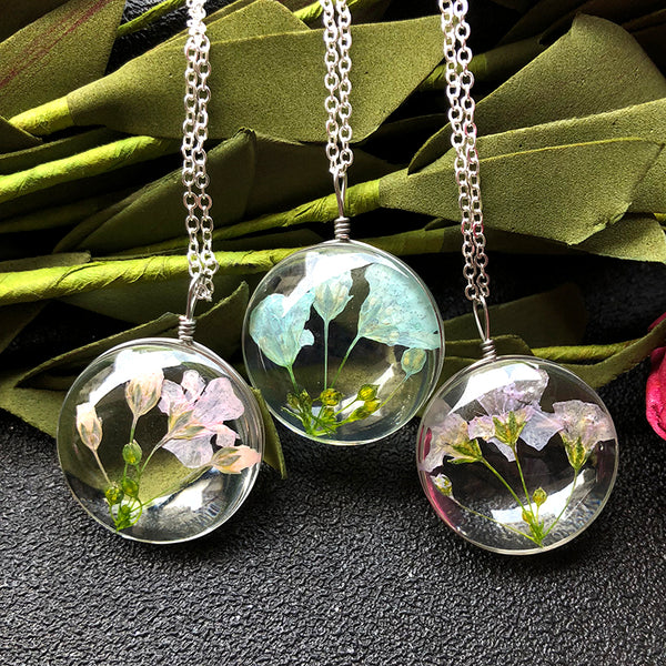 Real Natural Dried Flower Specimens Necklaces