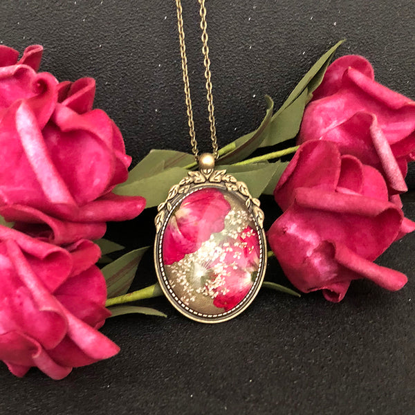 Real Red Rose Flower Glass Pendant Necklace