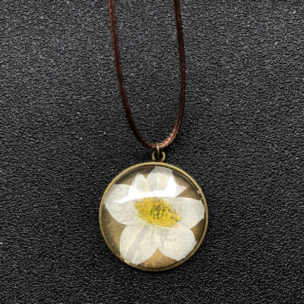 Handmade Retro Leather Chain Glass Flower Necklace