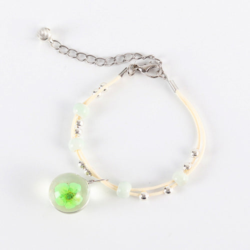 New Arrival Peach Blossom Flower Glass Ball Bracelet