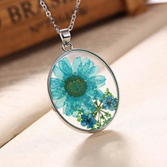 Decorative Natural Real Blue Dried Flowers Necklace Pendant Jewelry