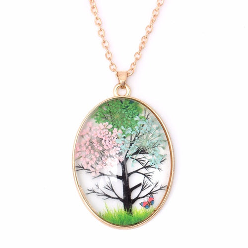 New Real Dried Flower Pendant Necklace