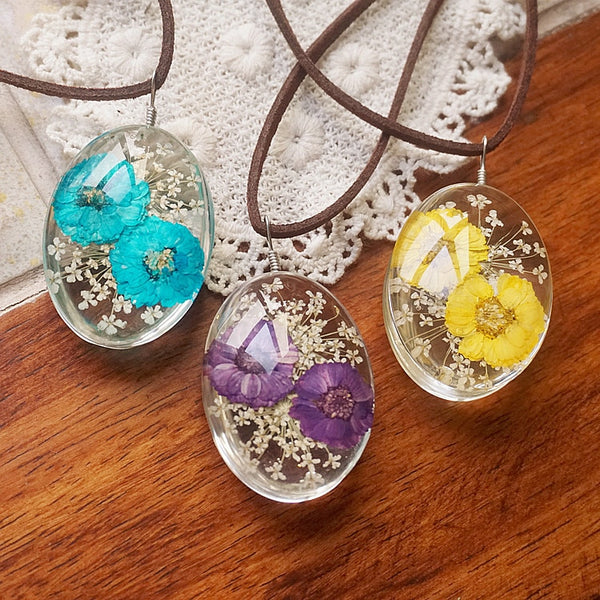 Handmade Real Dry Daisy Flower Necklace