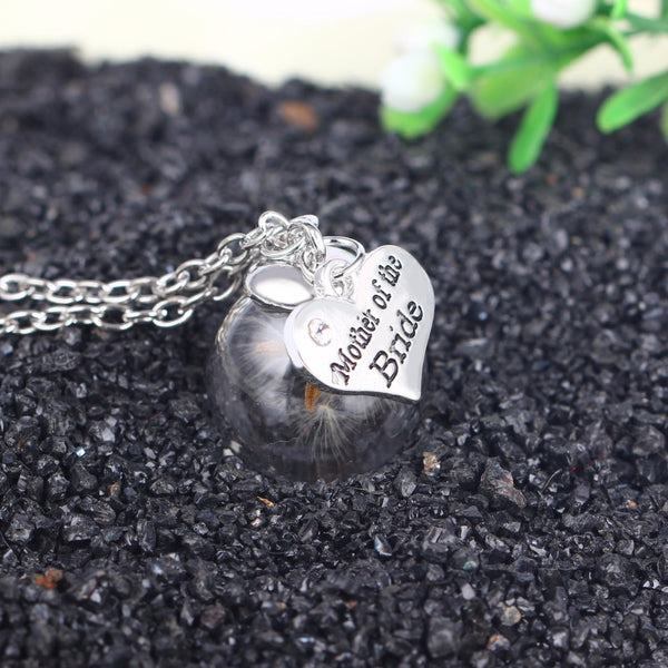 Heart Crystal Locket Dried Dry Flower Pendant Necklaces