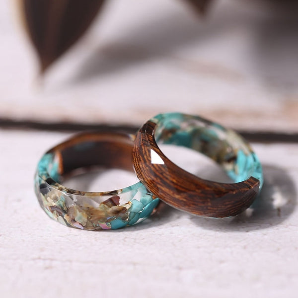 Vintage Blue Stones and Wood Ring