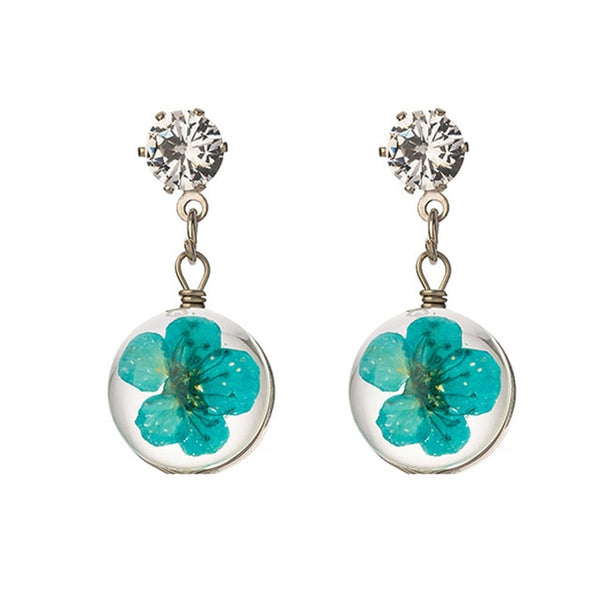Creative Beautiful New Glass Ball Flower Earring