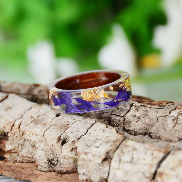 Vintage Purple Flower Wood Ring