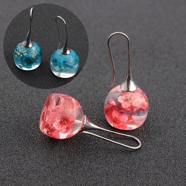 Earrings Resin Dried Flowers Ear Hooks Women