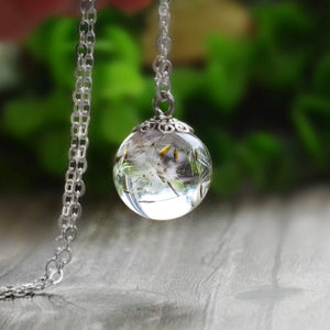 Real Dandelion In Resin Ball Pendant  Necklace