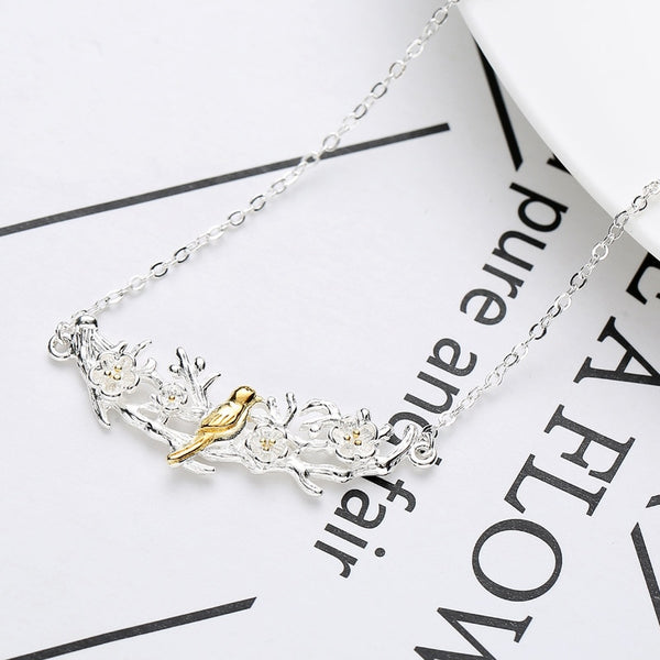 New Arrivals 925 Sterling Silver Bird Branch Necklaces