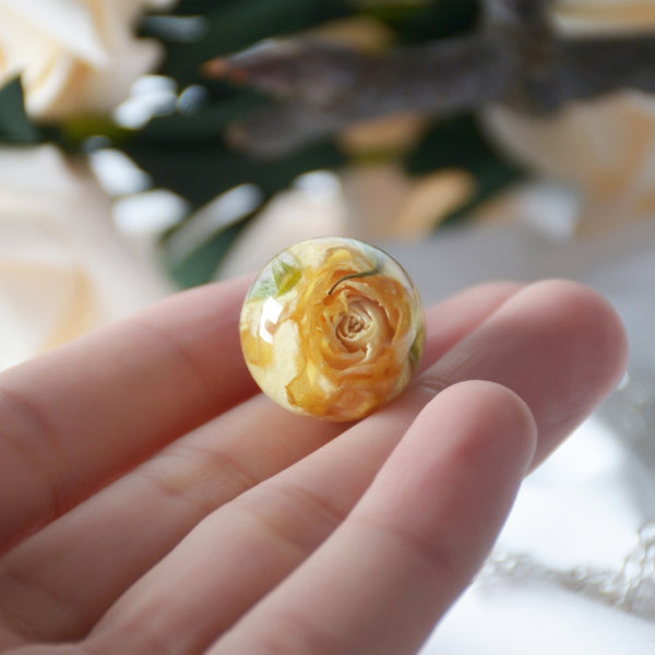 Real Dried Rose Flowers Resin Pendant Necklace