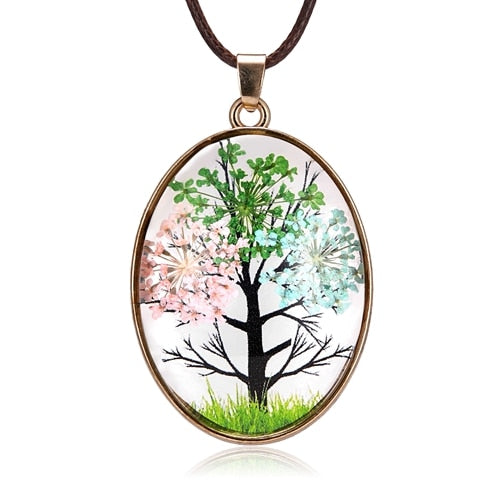 Natural Dried Flower Trees Life Glass Necklace