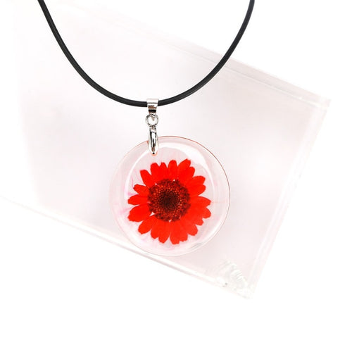 New 1 Pcs Beauty Cute Dried Daisy Flower Handmade Pendant Necklace Charm Gift Women's Jewelry Round Flower Necklace