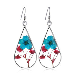 Dried Flowers Drop Earrings Silver Color Pendants