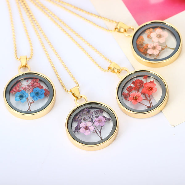 Dried Rose Glass Floating Lockets Pendant Necklaces