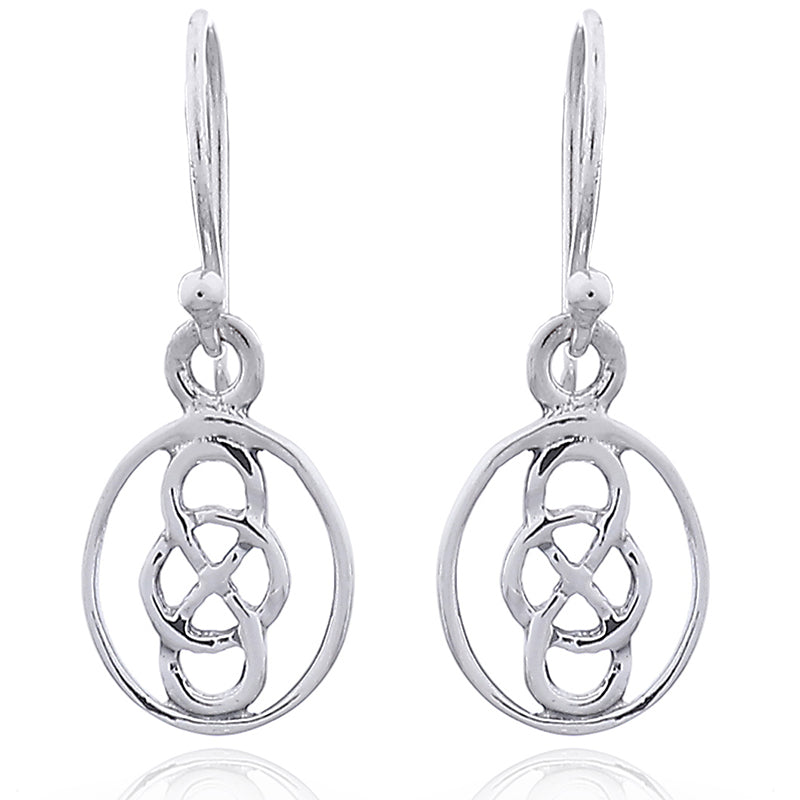 Sterling Silver Oval Eternity Knot Drops