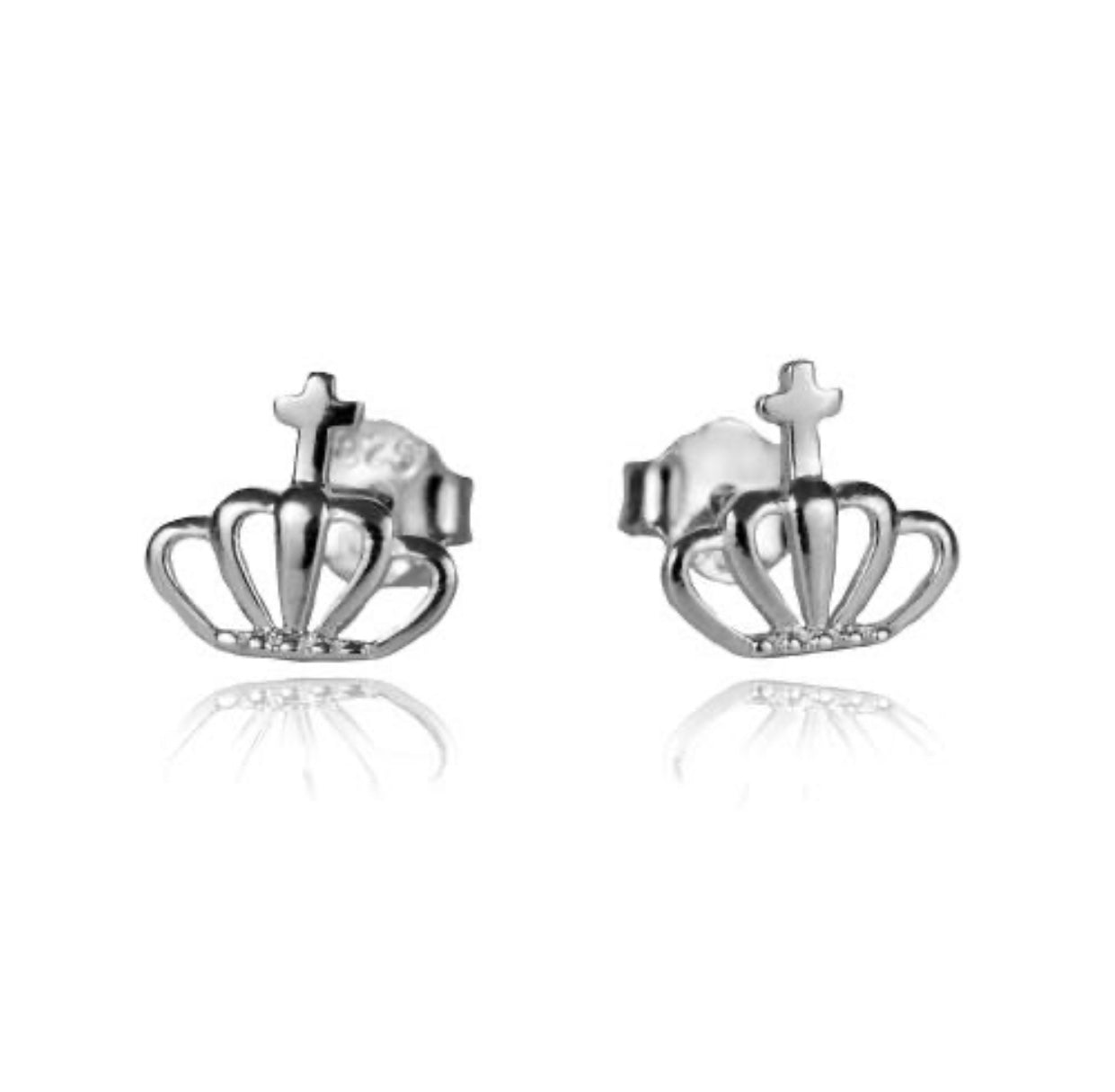Sterling Silver Princess Crown Studs