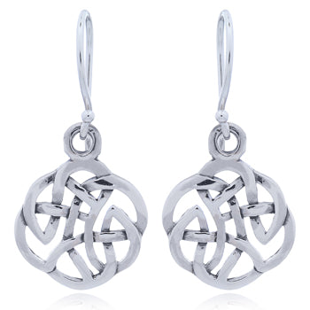 Sterling Silver Round Celtic Openwork Earring Drops