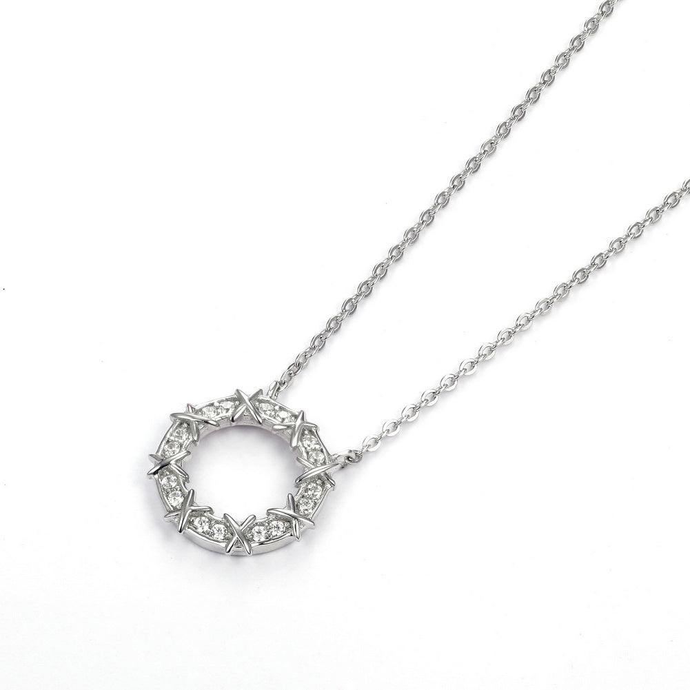 Sterling Silver Open Circle CZ Necklace