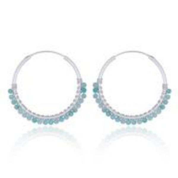 Sterling Silver Amazonite Hoop Earrings