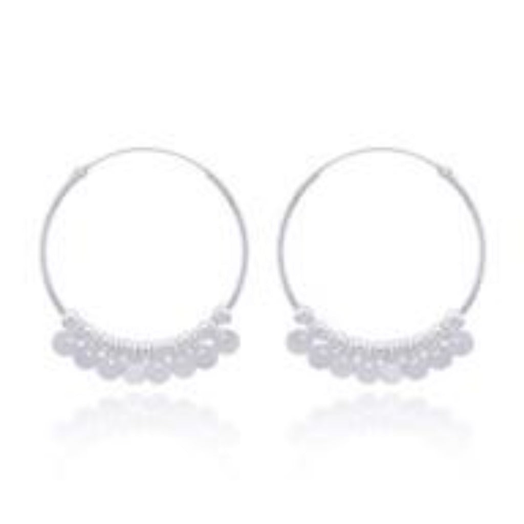 Sterling Silver Shaker 30 mm Hoop Earrings