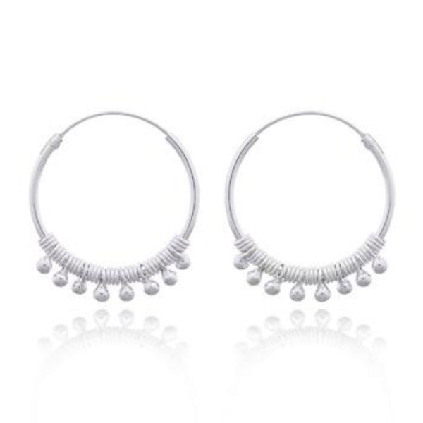 Sterling Silver Beaded Hippie Hoops